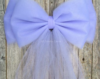 Lavender Tulle Pew Bow | Optional Bling Silver or Gold | Wedding Ceremony Church Decoration | Chair Sash | Party Bridal | Bridal Baby Shower