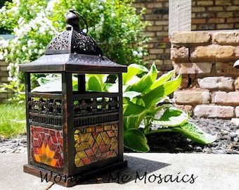 Stained Glass Mosaic Lantern - Small Sunrise