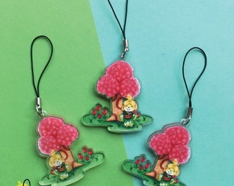"""ACNL Spring Isabel   2"""" Acrylic Clear Charm double sided"""