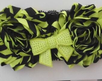 Neon Green and Black Stripped Shabby Flower Headband