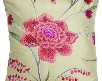 Green Floral Silk Decorative Pillow Throw Case Pink Rose Cushion Cover Eden Osborne And Little Fabric