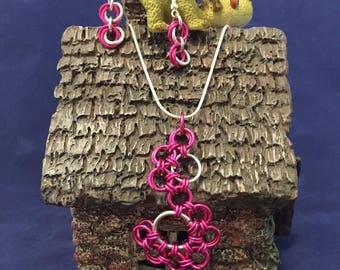 Chainmaille Breast Cancer Awareness Ribbon