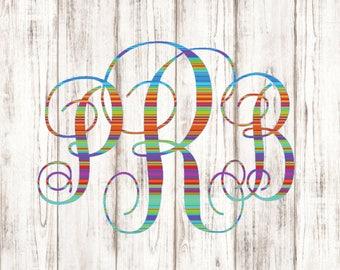 Serape Monogram Vinyl Decal - Script Vine Rainbow Mexican Blanket