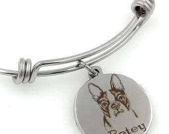 Boston Terrier Engraved Expandable Personalized Bangle Bracelet