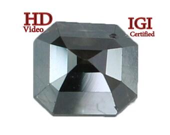 GIA CERTIFIED 0.98 Ct Natural Loose Diamond Emerald Shape Black 5.62 MM L7997 Bkk