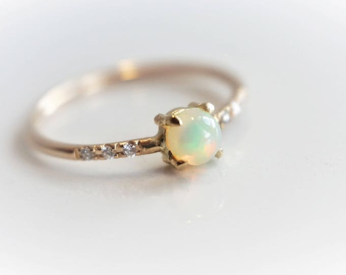 Naomi Opal - Natural Ethiopian Opal and Diamond Ring, 14k Gold Diamond Opal Ring, Dainty Ring, October Birthstone Ring