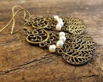 Boho Earrings, Chandelier Earrings, Earthy Earrings, Leaf Earrings