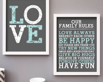 Family Print Set - Gallery Wall Set - Family Rules - Family Sign - LOVE Print
