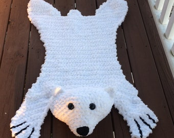 Crochet Bear Skin Rug, Polar Bear Rug, Made to order, you choose color