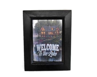Cabin by the Lake, 'Welcome to the Lake', Jim Hansel, Art Print, Home Decor, Wall Hanging, 9X7, Real Wood Frame, Handmade, Made in the USA