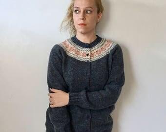 Vintage Bank of Tattersall Cardigan / Wool Sweater / Nordic Style / Nordic Sweater / Gray Cardigan / Vintage Cardigan / Vintage Sweater