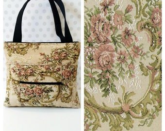 Natural Floral Tapestry Shoulder Bag /Small  Purse / Magnetic Snap Closure