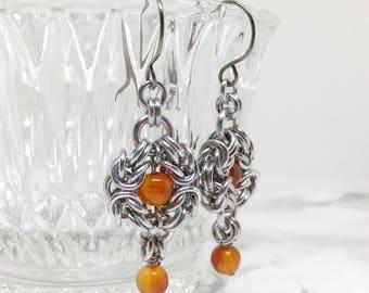 Elegant Earrings for Women - Romantic Earrings - Gemstone Earrings -  Gift for Her - Renaissance Jewelry - Chainmaille Jewelry