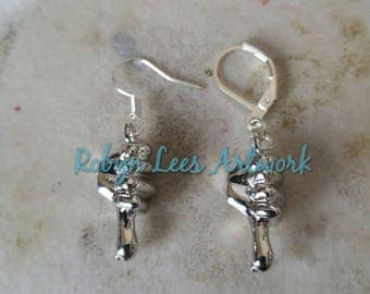 Small 3D Silver Thumbs Down Hand Symbol Sign Gesture Charm Earrings on Silver Earring Hooks or Leverbacks