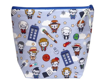 NEW! Knitting Bag-Project Knitting Bag-Doctor Who Bag-TARDIS Sweater Bag-Cat Project Bag-Bag for Knitters-Large Wedge Bag