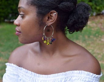 African Fabric Hoop Earrings, African Earrings, Textile Earrings, Ankara Fabric, Hoop Earrings, Boucles d'Oreille Wax
