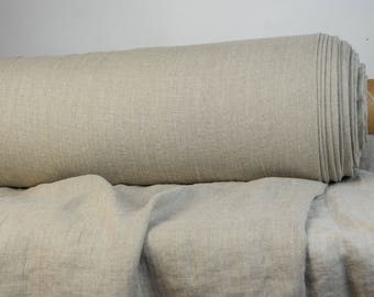 Pure 100% linen fabric 190gsm. Natural color,  not dyed linen flax. Medium weigh, washed, softened. For bedding, clothes, very wide usage.