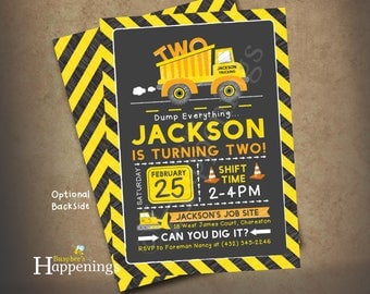 Construction Birthday Invitation Construction Party Construction Invite Dump Truck Invitation Digital File by Busy Bee's Happenings