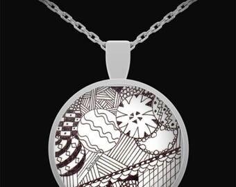 "Zentangle Necklace - B/W Tangle Art Necklace hand drawn by Zenjoanie - ""Circular"""