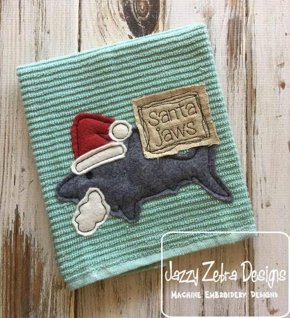 Santa Jaws shark shabby chic applique embroidery design - shark applique design - Christmas appliqué design - shark week appliqué design
