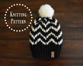 PATTERN // Adult Chevron Knit Hat Pattern // Knit Beanie // The COSLEY
