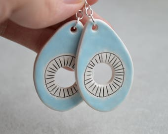 Ceramic earrings on sterling silver hooks, contemporary statement jewellery with carved geometric pattern, unique gift for girlfriend