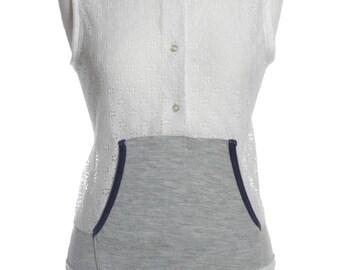 Vintage Re Worked Lace Sweatshirt Vest Top 12 - www.brickvintage.com