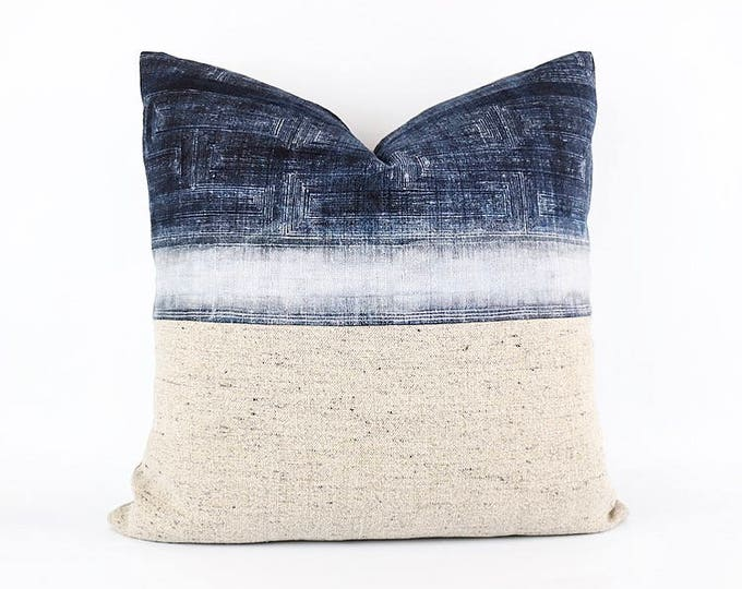 Vintage Indigo Hemp Hmong Batik Textile And Flax Belgian Linen Pillow Cover 20x20