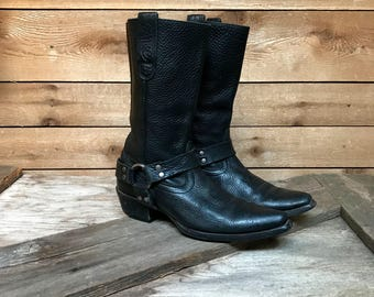 Women's ARIAT Hollywood Cowboy Harness Boots Black Leather Moto Western Boots Size 6