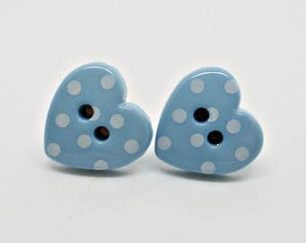 Powder Blue Polka Dot Studs, Heart Polka Dot Earrings, Vintage  Studs, Retro Studs, Button Earrings, Blue Posts, Gift For Her, Rockabilly