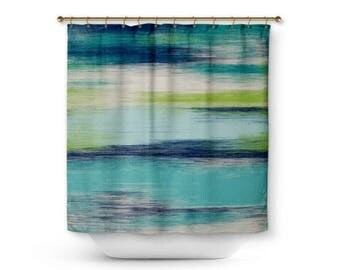 Abstract Shower Curtain Teal Navy Green Cream Modern Bathroom Decor Etsy