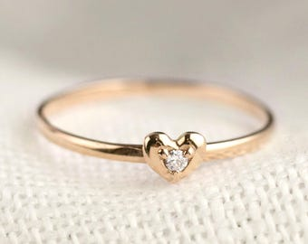 14k solid rose gold heart diamond ring, tiny heart ring, dainty heart ring, tiny diamond ring, valentines day, love ring, hea-r102-dia