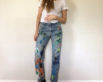 Vintage Painted Destroyed Jeans