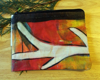37 ANTLER -- large reclaimed canvas zipper pouch