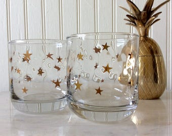 Vintage Set of 2 Anchor Hocking Lowball Weighted Glasses, Barware, Gold Stars, Mid Century, Hollywood Regency