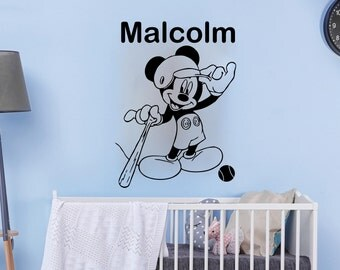 Wall Decals Custom Personalized Name Decal Mouse Baseball Game Vinyl Sticker Boy Bedroom Nursery Children Playroom