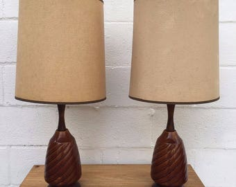 Pair Mid Century Table Lamps,SHIPPING NOT INCLUDED, Brown and Beige Ceramic Mid Century Table Lamps with Shades (Pair)