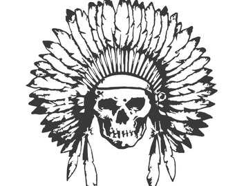 Indian Skull With Headdress Decal Sticker, Native American BA02