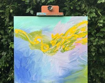 "20"" x 20"" ORIGINAL acrylic painting, YELLOW w/ greens, pink, purple, ""Fly"""