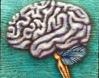 """Brain Painting on Weathered Plywood, """"Grey Matter"""""""