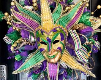 Mardi Gras Wreath, Mardi Gras Decoration, Door Hanger, Front door wreath, Wreath for Front door, Deco Mesh Wreaths, Made to Order