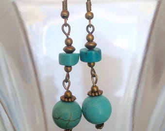 Turquoise Earrings with Brass Beads