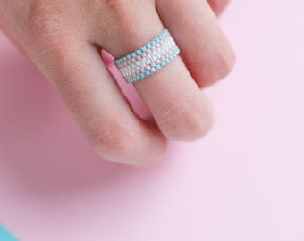 Minimalist Ring | Trans Ring | Lgbt jewelry | Trans pride | Seed Bead Ring | Wide Band Ring | Simple Womens Ring | Boho Ring for Women