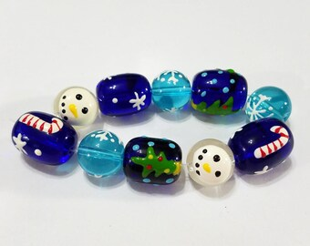 Christmas, Bead, Set, Glass, Blue, Snowman, Tree, Candy Cane, Snow, Snowflake, Beading, Jewelry, Supplies, Supply
