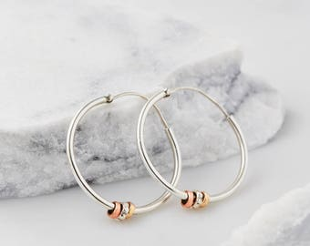 Hoop Earrings, Statement Earrings, Boho Earrings, Bridesmaid Earrings, Silver Earrings, Everyday Earrings, Bohemian Earrings JE248