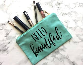 Hello Beautiful Canvas Makeup Bag, Engagement Gift, Wedding Gift, Wedding Apparel, Bride tote, Bride Purse, Bride Makeup Bag