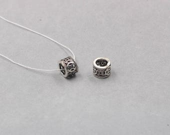 2Pcs 9mm Sterling Silver Tube Beads -- 925 Silver Antique Tibetan Style Charms Wholesale For Bridesmaid Gift Party YX-Y169