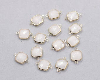 4 Pcs Faceted Crystal Bezel Connectors -- With Electroplated Gold Edge Charms Wholesale Supplies YHA-326-6