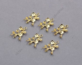 6Pcs, 21mm Raw Brass Flower Charms Pendants LHY-001