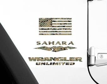 Set of 2 - Full Fender Replacement Set of Jeep Wrangler American MARPAT Marines Camo Flag Decals OEM